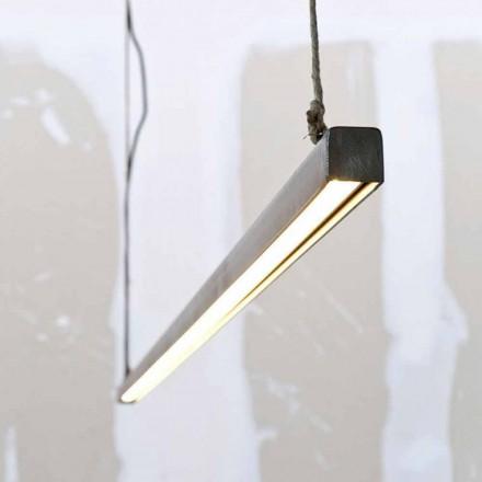 Candeeiro de Suspensão em Ferro e Corda com LED Integrado Made in Italy - Stecca