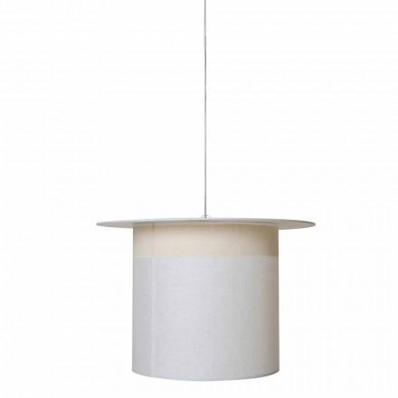 Lâmpada de suspensão de linho branco com design de cilindro, feita na Itália - mágica