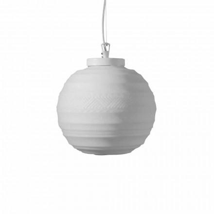 Lâmpada de suspensão em vidro acetinado branco em 2 tamanhos de design - Morse