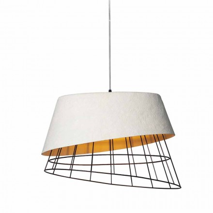Lâmpada de suspensão em fibra de vidro branca e design elegante de metal - solar