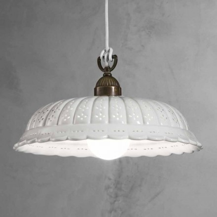 Luminária pendente de cerâmica branca Anita Il Fanale Ø42 cm, fabricada na Itália