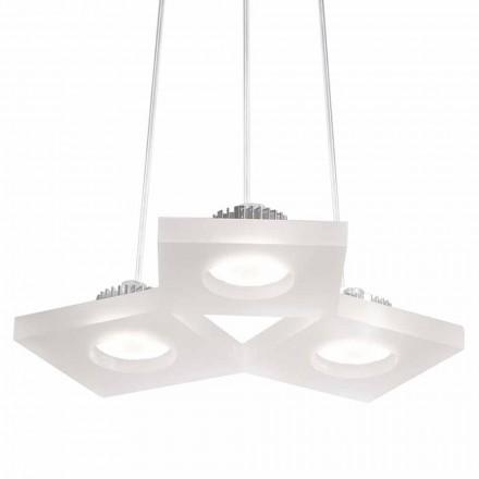 Luminária pendente design moderno Nella, metacrilato de cetim branco L27xW23 cm