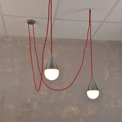 Moderna luminária com 2 luzes com cabo vermelho cromado