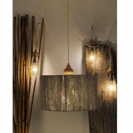 Luminária pendente de 4 luzes design moderno Bois