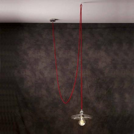 Luz moderna pingente com fio de luz vermelha de cromo