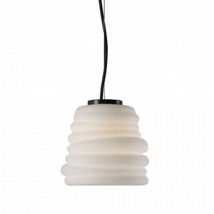 Lâmpada suspensa da sala de estar em vidro acetinado branco 3 dimensões - Suave