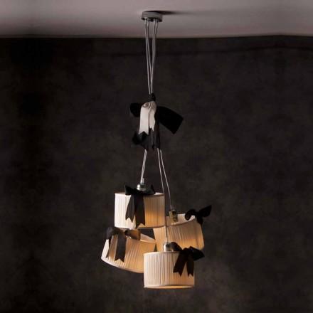 Luminária pendente de seda design vintage 4-luz Chanel
