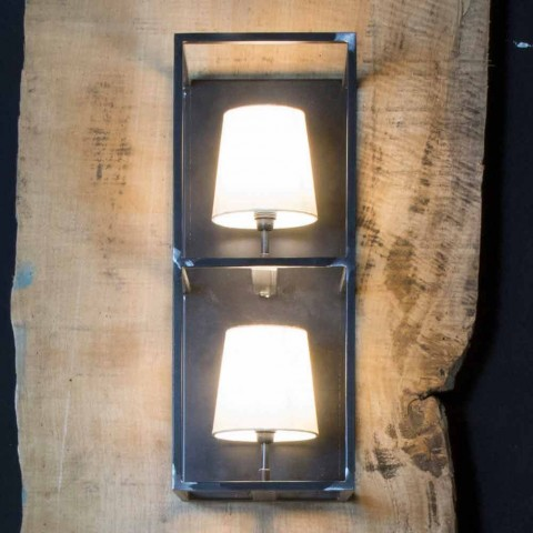 Abajur Artisan em Ferro Preto com 2 Abajures Made in Italy - Torre