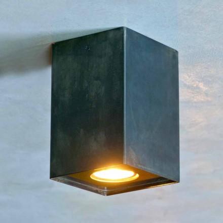Lâmpada Cúbica em Ferro Preto com Soldas Fosco Fabricado na Itália - Cubino