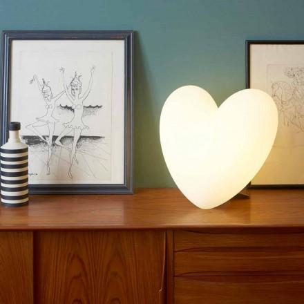 Candeeiro de mesa colorido em forma de coração Slide Love, produzido na Itália