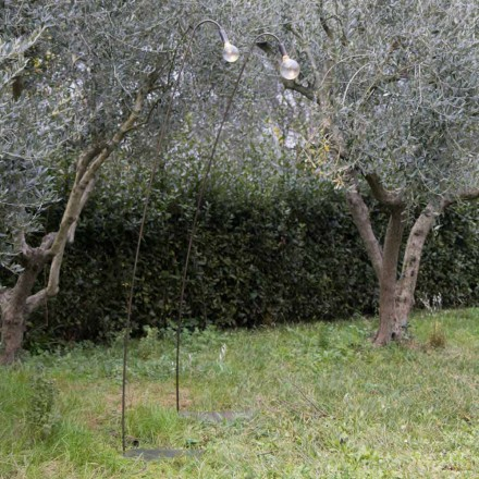 Candeeiro Artisan Outdoor em Ferro e Vidro Decorativo Fabricado na Itália - Beba