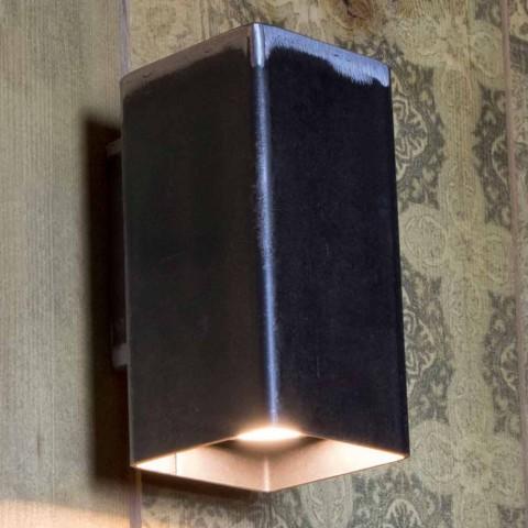 Aplique Quadrado Feito à Mão em Ferro Preto Fabricado na Itália - Cubino