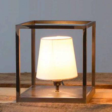 Candeeiro de mesa de ferro artesanal com abajur Made in Italy - Cubola