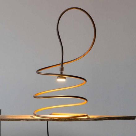 Candeeiro de mesa de design em efeito polido cobre feito na Itália - Fusillo