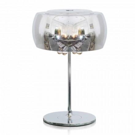 Candeeiro de mesa Design em vidro, cristal e metal cromado - Cambria