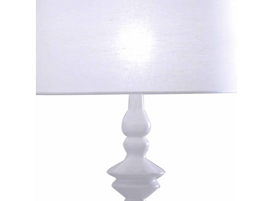 Abajur em Cerâmica Branca e Abajur de Linho 2 Dimensões - Cadabra