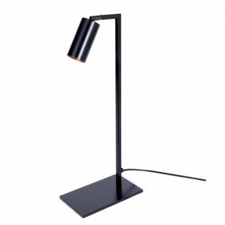 Candeeiro de mesa em Ferro e Alumínio Preto Mate com LED Made in Italy - Agio