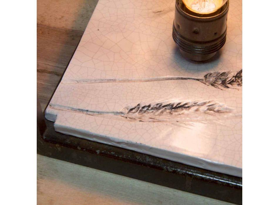 Candeeiro de mesa em Ferro e Cerâmica Artesanal Made in Italy - Floria