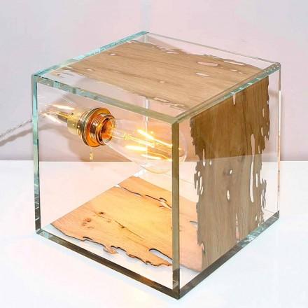Candeeiro de mesa de vidro Cà d'oro 22, em madeira de briccola veneziana