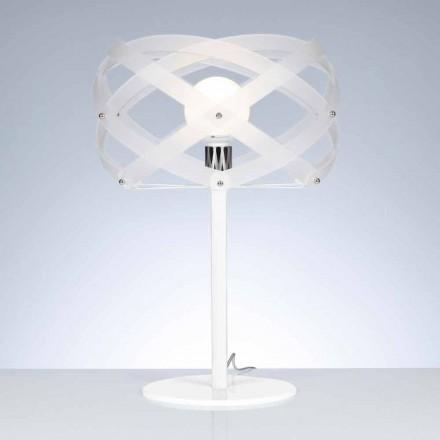 Candeeiro de mesa Design Vanna, feito de acabamento acetinado metacrilato branco