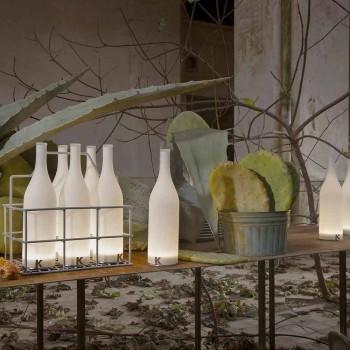 Abajur Led em Vidro Fosco Branco Design Moderno - Garrafa