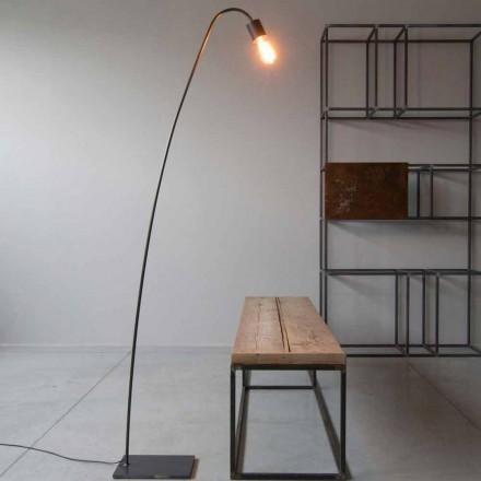 Candeeiro de pé Artisan Design em Ferro Preto Made in Italy - Curva