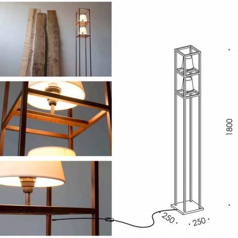 Abajur de ferro artesanal com acabamento de Corten feito na Itália - Torre