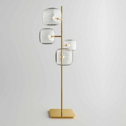 Candeeiro de pé de design com estrutura metálica brilhante Made in Italy - Donatina