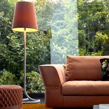 Luminária de piso de metal e tecido design Grilli Snake feita 100% na Itália