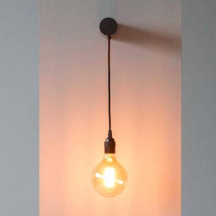 Lâmpada Design em Ferro Preto com Cabo de Algodão Fabricado na Itália - Cladia