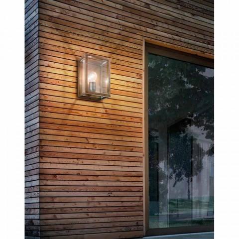 Lâmpada industrial em latão e painel de vidro Il Fanale