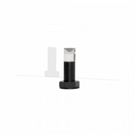 Candeeiro de mesa moderno em metal preto e plexiglass Made in Italy - Dalbo