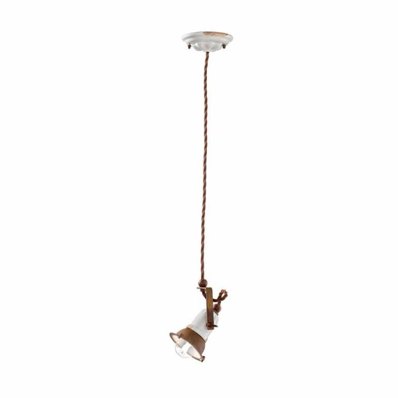 Luminária pendente ajustável de cerâmica e metal Alayna Ferroluce