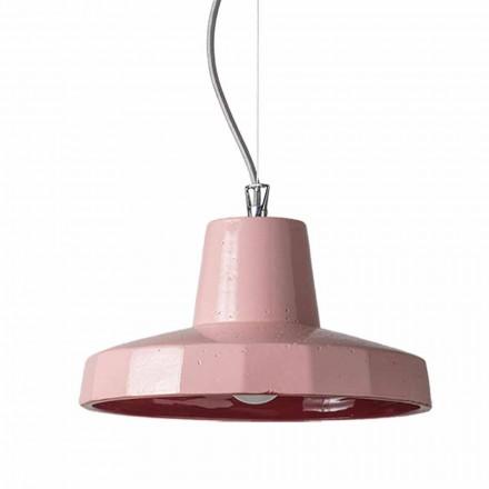 Luminária suspensa de 30cm em latão e maiolica toscana, Rossi Toscot