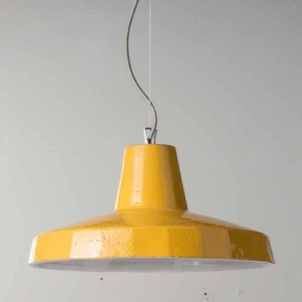 Candeeiro suspenso de 42cm em latão e toscano maiolica Rossi - Toscot