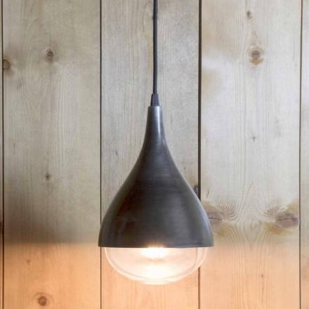 Lâmpada suspensa artesanal em alumínio e algodão preto feito na Itália - Sissa