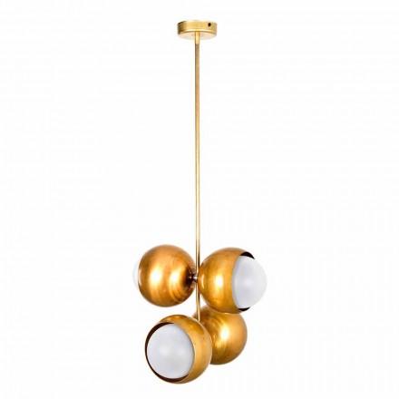 Lâmpada suspensa artesanal em latão natural e vidro fabricado na Itália - Gandia