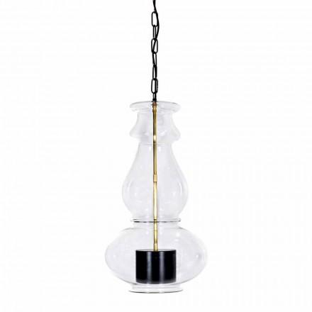Lâmpada suspensa artesanal em vidro soprado e latão feito na Itália - Vitrea