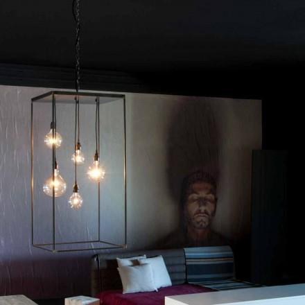 Lâmpada suspensa com estrutura de ferro feita à mão Made in Italy - Cosma