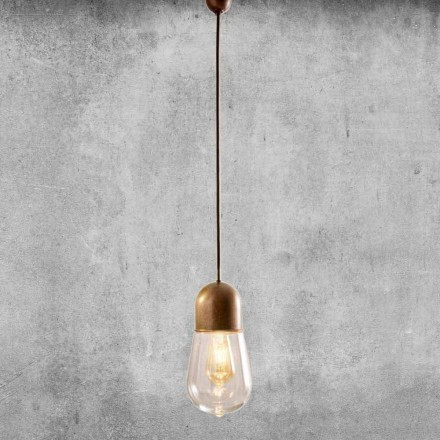 Candeeiro suspenso Design vintage em latão e vidro - Aldo Bernardi Guinguette