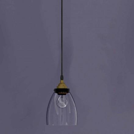 Lâmpada Suspensa Design em Metal e Vidro Transparente Made in Italy - Clizia