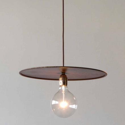 Lâmpada de ferro suspenso com cordão de algodão artesanal feito na Itália - Ufo