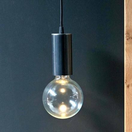 Lâmpada Suspensa em Ferro e Vidro com Cabo de Algodão Fabricado na Itália - Ampolla