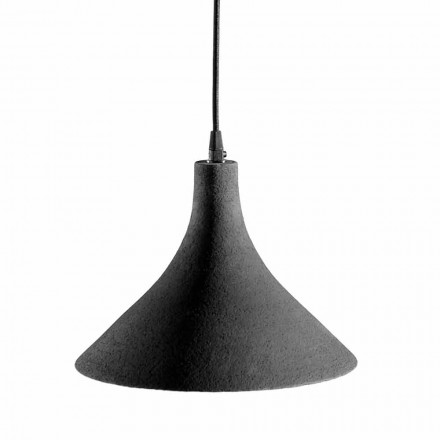 Candeeiro Suspenso em Grés Antracite e Design Moderno Interior Branco - Edmondo