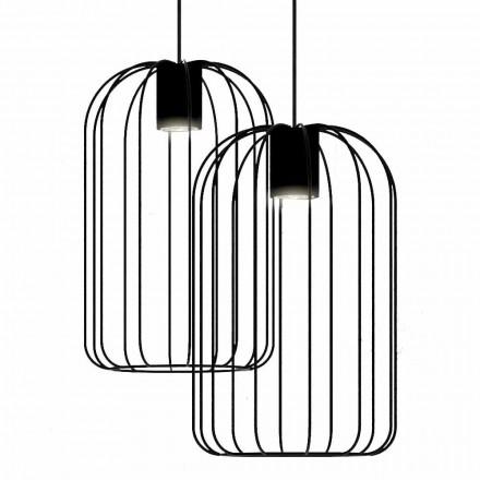 Lâmpada suspensa moderna com estrutura de fio de metal feita na Itália - gaiola