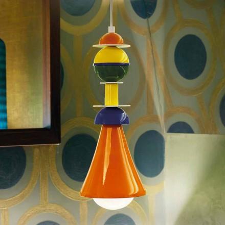 Lâmpada suspensa multicolorida moderna Slide Otello Suspensão, fabricada na Itália