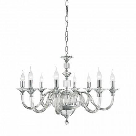 Candelabro de luzes clássico 8 feito de vidro com decorações de cristal Ivy