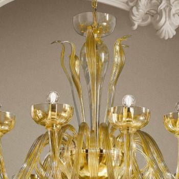 Candelabro de 16 luzes em vidro veneziano e ouro, feito à mão na Itália - Regina