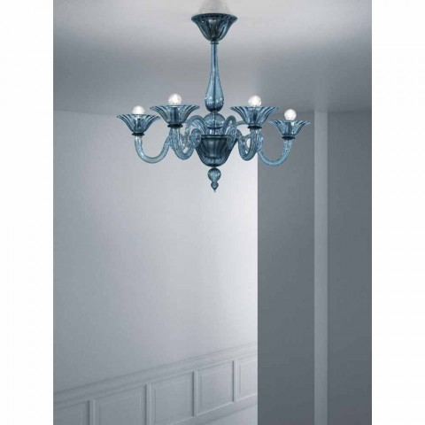 5 Luzes Artisan Glass Chandelier from Venice, Made in Italy - Margherita