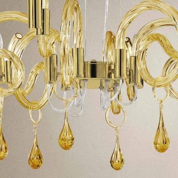 6 Lustre de vidro leve feito à mão em Veneza, feito na Itália - Bernadette